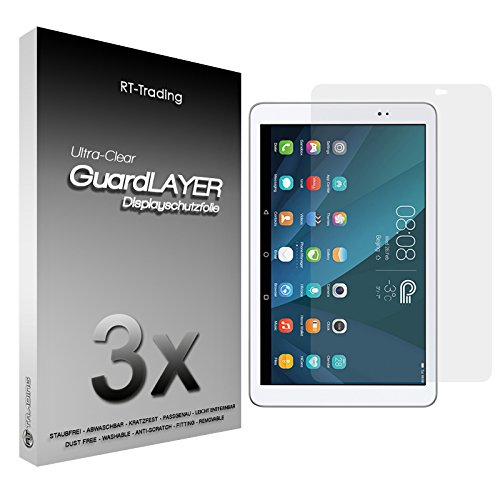 3x Huawei MediaPad T1 10.0 - Display Schutzfolie Klar Folie Schutz Display Screen Protector Displayfolie - RT-Trading