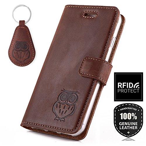 SURAZO Handy Hülle Für Samsung Galaxy Note 10 Plus - Eule - TV RFID Nubuk Nussbraun - Ölleder Premium - Vintage Wallet Case