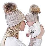 Gorros de punto Sannysis 2PCS gorro de invierno para madre y bebé...
