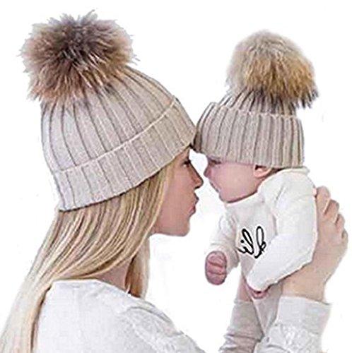 Sannysis Gorros de Punto 2PCS Gorro de Invierno para Madre y bebé (Caqui)