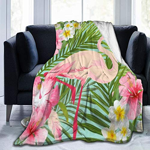 Bernice Winifred Tropical Pink Flamingo Hibiscus Flowers Manta de Microfibra Ultra Suave Fabricada en Franela Anti-Pilling, más cómoda y cálida.50x40