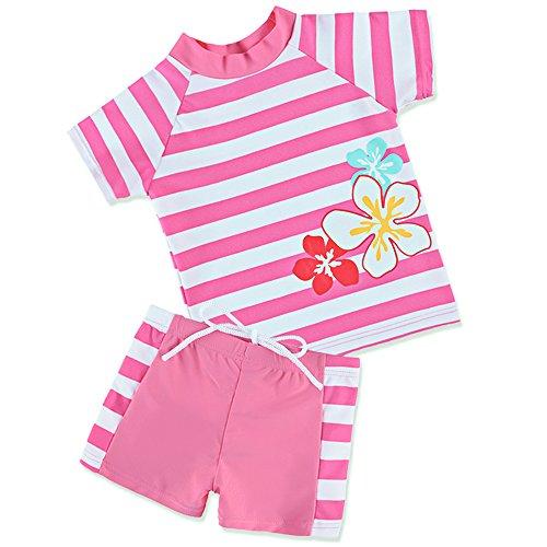 HUANQIUE Badeanzug Mädchen Junge Unisex Bademode mit UV-Schutz Anzüge Streifen Blüte HotPink 116/122