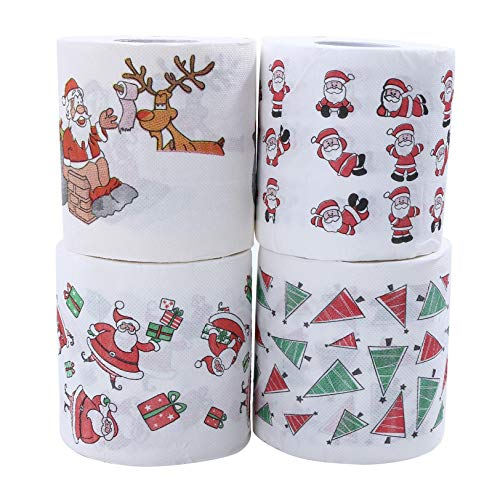 Christmas Roll Paper Napkin Colored Paper Creative Toilet Papers 4pcs(Santa,Tree, Gift, Chimney)