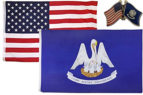 AES Wholesale Combo USA & State of Louisiana 2x3 2'x3' Flag & Lapel Pin Fade Resistant Double Stitched Premium Penant House Banner Grommets