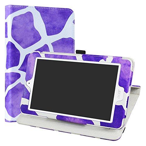 """LiuShan Acer Iconia One 8 B1-850 Rotary Funda, Giratoria 360 Grados de Rotación Carcasa con Stand Soporte Caso para 8"""" Acer Iconia One 8 B1-850 / B1-870 Android Tablet,Giraffe Purple"""