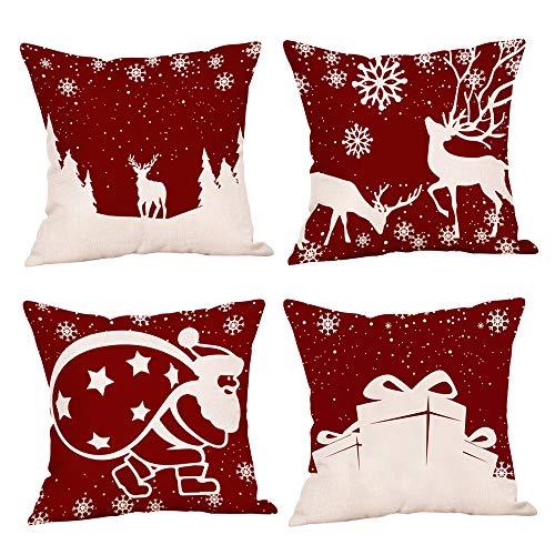 TDCQ Funda de Almohada de Copo de Nieve, Funda de Almohada de Navidad, Funda de cojín de Navidad, Almohada de Navidad, Funda de Almohada de sofá de Navidad (Rojo)