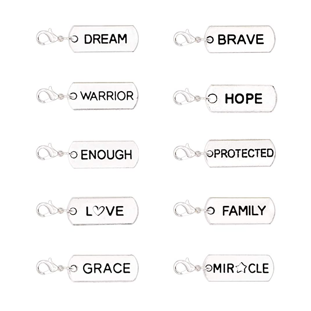 Character Zipper Pulls Charms for Purse, Set of 10 Special Knitting Crochet Markers,