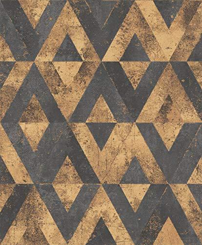 431322 Kreise in beige und gold-Metallic mit Glitzer Rasch Tapeten Rasch Vlies-Tapete 0,53m x 10,05m Home Vision VI BxL