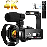 Camcorder 4K HD 48MP Video Camera 18X Digital Zoom IR Night Vision YouTube Camcorder with Portable Handheld Stabilizer,Microphone and Remote Control…