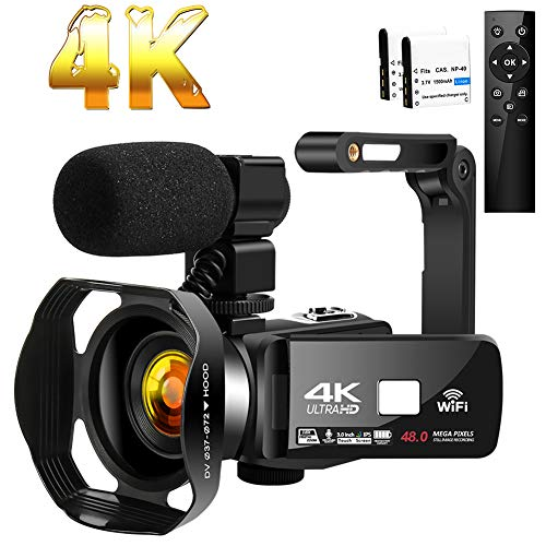 Camcorder 4K HD 48MP Video Camera 18X Digital Zoom IR Night Vision YouTube Camcorder with Portable...