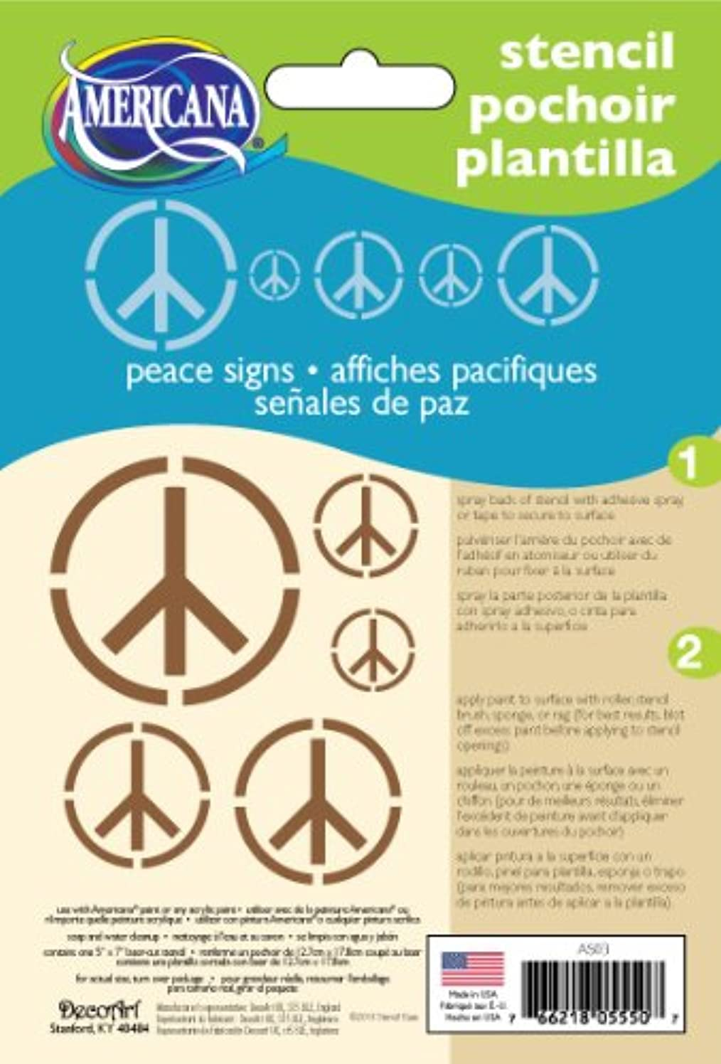 DecoArt 5-Inch-by-7-Inch Stencil Home Decor Series, Peace Signs