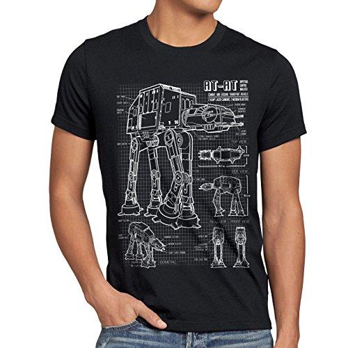 style3 at-at Herren T-Shirt Blaupause Walker, Größe:S, Farbe:Schwarz