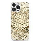 Coque pour iPhone 13 Pro Max, fleur de vie en lotus doré pastel et toile anti-rayures en TPU souple...