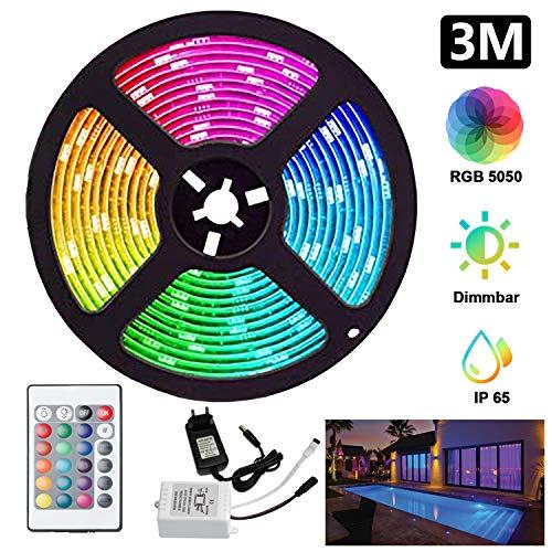 LED Streifen LED Strip, Hengda 3M 90LEDs RGB Farbwechsel SMD 5050, Dimmbar, Lichtband Kit mit 24Tasten Fernbedienung und Netzteil, IP65 Wasserdicht, für Haus, Schlafzimmer, Küche