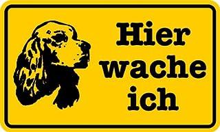 Schild Alu Hier wache ich Gewehr gelb//schwarz 120x200mm