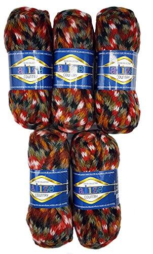500 Grammi Metallic Lana con 20/% Lana 5 X 100 G Alize Gomitolo di Lana Effetto Tinta Unita