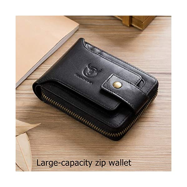 BULLCAPTAIN Men Zipper Around Wallet Genuine Leather RFID Blocking Bifold Large Capacity Coin Purse with ID Window 3