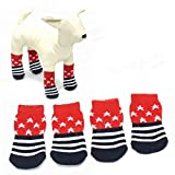 HaiMa Star Pattern Blue and Red Anti-Slip Soft Cotton Knit Pet Calcetines – L