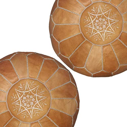 set of 2 Moroccan leather pouf, handmade ottoman poof for living room furniture and home decor, floor footstool hassock, boho round chair foot rest stool pouffe, Light Almond Cognac Unstuffed