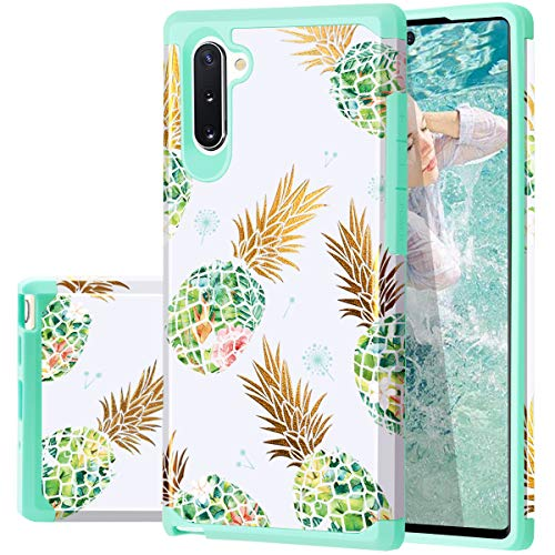 Samsung Note 10 Case, Galaxy Note 10 Case Pineapple, Fingic Shiny Slim Pineapple Design Summer Case Hard PC Soft Rubber Anti-Scratch Shockproof Protective Case Cover for Samsung Note 10 6.3 inch,Green