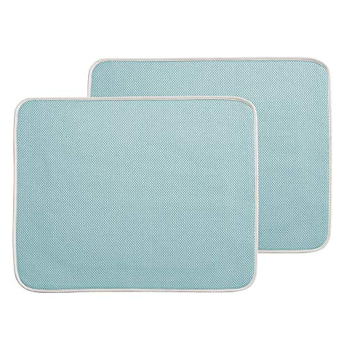 mDesign Ultra Absorbent Reversible Microfiber Dish Drying Mat and Protector for Kitchen Countertops, Sinks: Folds for Compact Storage, Large - 2 Pack - Aqua Blue/Ivory