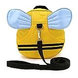 Sumnacon 迷子防止ひも リード付き リュックバッグ ぬいぐるみ 可愛いミツバチ 黄色い (ブルー羽)