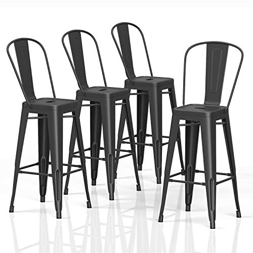 VIPEK 30' Bar Stools Commercial Grade Patio Metal Bar Chairs 30 Inches Height Barstool with High Back Side Dining Chairs for Indoor Kitchen Home Outdoor Bistro Pub, Set of 4, Matt Black Color