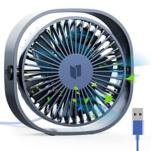 RATEL Mini USB Tischventilator, 12,5 cm USB Ventilator 3 Geschwindigkeiten Tragbar PC Ventilator mit 1,2 Meter langem Kabel,Mini-Schreibtisch Ventilator für Zuhause und Büro - Ruhig und kraftvoll