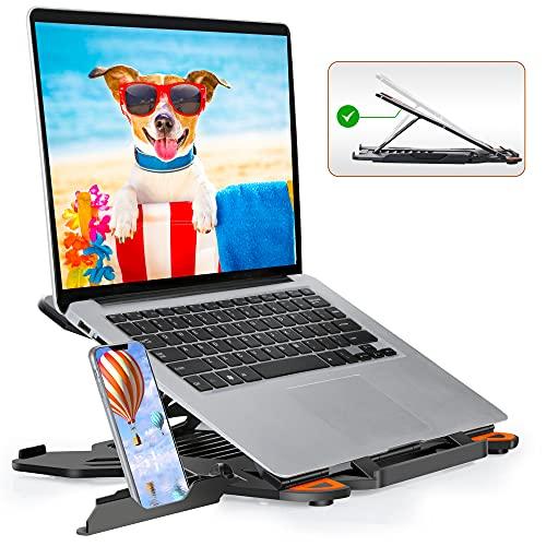 """TopMate Supporto per Laptop per Scrivania Regolabile in Altezza, Supporti per PC Portatili Computer Girevole, Appoggia PC Portatile con Supporto Telefono, Supporto Notebook per MacBook Air PRO 10-17"""""""
