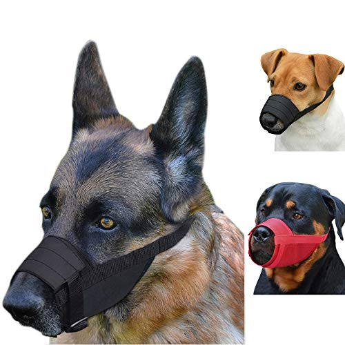 CollarDirect Adjustable Dog Muzzle Small Medium Large Dogs Set 2PCS Soft Breathable Nylon Mask Safety Dog Mouth Cover Anti Biting Barking Pet Muzzles Dogs Black Red (M/L, 2 Black)