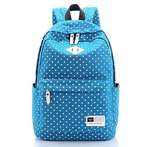 Leichter Tagesrucksack für die Freizeit von S-Zone, Leinen, gepunktet, für einen 14-15-Zoll-Laptop, Schultasche für Teenager, hellblau (Blau) - S-ZONE D04V400