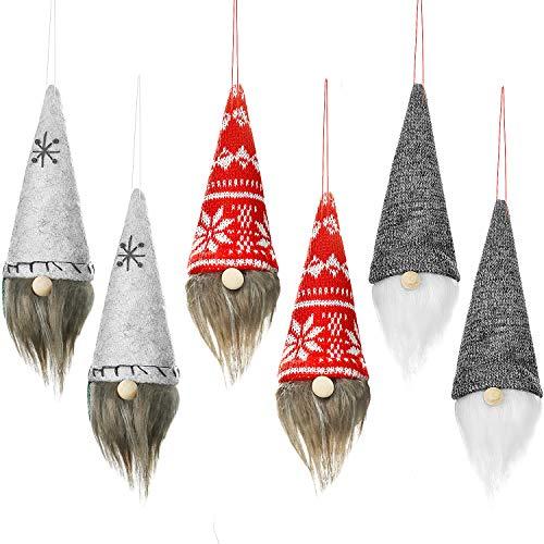 Boao 6 Pieces Swedish Christmas Ornaments Plush Scandinavian Gnome Tomte Xmas Santa Ornaments Handmade Table Decoration for Christmas Tree Hanging Decoration Supplies