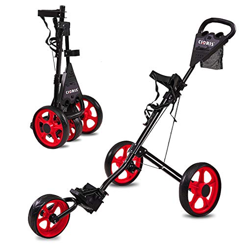 CLORIS 3 Wheel Golf Push Cart With Golf Bag Rain Cover, Foldable Golf...