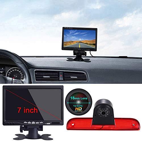 Transporter 7 Zoll LCD Monitor +1280x720 Pixel 3rd Bremslicht Rückfahrkamera Wasserdicht Nachtsicht Kamera für Van FIAT Ducato X250 X290 Bus Kasten/Peugeot Boxter/Citroen Jumper