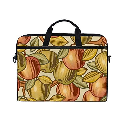 Ahomy 15-15,4 Zoll Laptoptasche, Apfel-Muster, Leinenstoff, Laptoptasche, Bussiness Handtasche mit Schultergurt für Damen und Herren