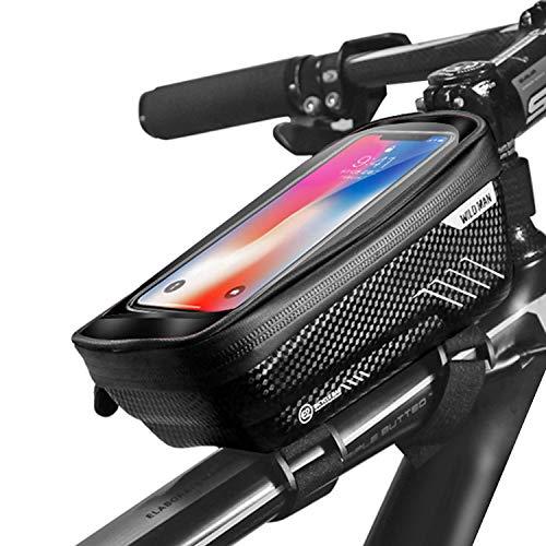 BAONUOR Fahrrad Rahmentasche Fahrrad Handytasche Lenkertasche Wasserdicht mit TPU Touchscreen Fahrradtasche Oberrohrtasche für iPhone 8 Plus/X/XS Max/XR/Samsung S8 Plus/S9 Smartphone unter 6,5 Zoll