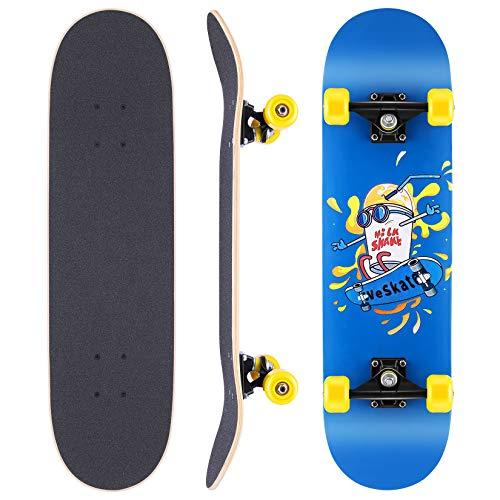 WeSkate Skateboard Komplettboard 79x20cm Holzboard mit ABEC-11 Kugellager 31 Zoll 7-lagigem kanadischem Ahornholz und 85A Rollen für Erwachsene, Jugendliche und Kinder
