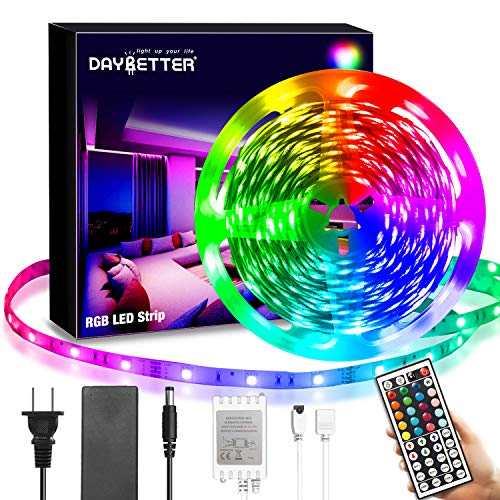 DAYBETTER Led Lights Kit,20ft RGB Flexible Led Light Strips with 44Keys IR Remote 12V Power Supply,SMD5050 Color Changing Led Strip Lights for Bedroom, Home, Indoor,Kitchen,Party DIY Decoration