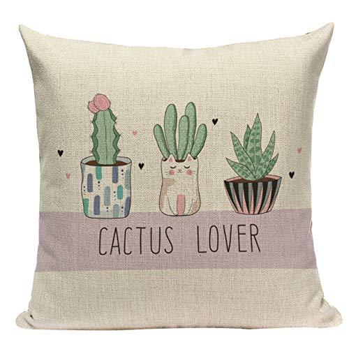 RTEAQ Funda Almohada para sofá Funda de cojín de Planta Tropical Cactus Verde Funda de Almohada Impresa para la Planta de la Selva Silla de hogar Sofá Fundas de Almohada Decorativas Cojines