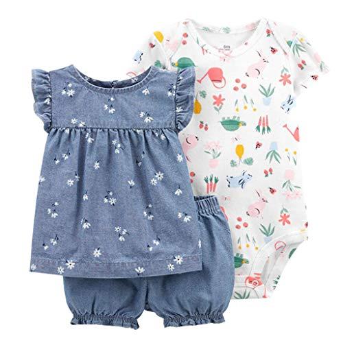 Set di Abbigliamento per Neonate Maglietta a Maniche Corte in Cotone + Body + Pantaloncini 3 Pezzi Completini e Coordinati Abiti Estivi per Bambina, 9-12 Mesi