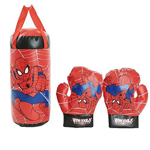 U/C Enfants Spiderman Cosplay Gants de Boxe Sac de Boxe Ensemble Suspendu garçons Jeux Jouet Anniversaire Cadeau de noël,Spiderman