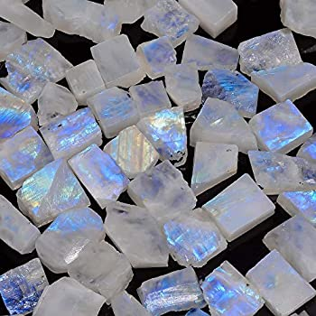Genuine from Gemkora 3 pcs 45+ carats Natural Rainbow Moonstone Rough Gemstone Raw Crystals Rock Jewelry Making Supply Healing Gift for Graduation Crafts-DIY Stone 16 to 20mm