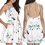 2019 Fashion!Womens Sexy Backless Mini Dress Summer Boho Halter Floral Pattern Swing Shirt Sundress with Pockets White by Leewos