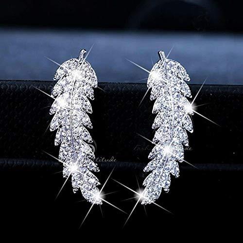 FEARRIN Pendientes Colgantes Pendientes con Forma de Pluma Pendientes Colgantes de Moda para Mujer Pendientes Colgantes de joyería Joyería de Moda Plata