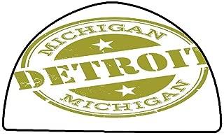Indoor Super Absorbs Doormat Detroit Decor,Aged Grunge Detroit Michigan Stamp Design with Stars Tourism Travel,Olive Green White,W24 x L16 Half Round Modern Abstract Area Rug