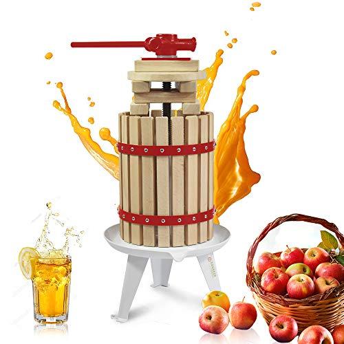 Fruit Apple Cider Wine Press- Solid Wood Basket-4.75 Gallon/18L- Pole Handle Bar-Manual Juicer for Juice,Wine,Cider-Suitable for Outdoor, Kitchen and Home