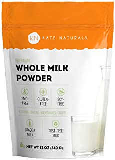 Whole Dry Milk Powder - Kate Naturals. Made In USA. Dried Powered Milk for Baking. RBST-Free. Great Substitute For Liquid ...