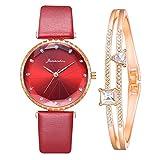 Damenuhr mit Lederarmband Klassische Analog Quarz Armbanduhr mit Rosegold Armband Mode Luxus Mosaik Kristall Diamanten Uhren für Frauen (Mehrfarbig-E)