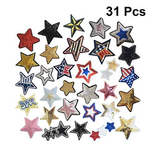 Supvox 31 Piezas de Lentejuelas de Estrella de Cinco Puntas Parches de Hierro Bordado en Lentejuelas Parches de Mochila de Estrella para Jeans Chaquetas Prendas de Vestir Costura Artesanía Diy