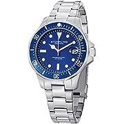 Stuhrling Original Aquadiver Mens Dive Watch - Quartz Analog Waterproof Sports Watch - Blue Dial Date Display Swim Wrist Watch for Men - Luminous Waterproof Watch with Stainless Steel Bracelet 664.02